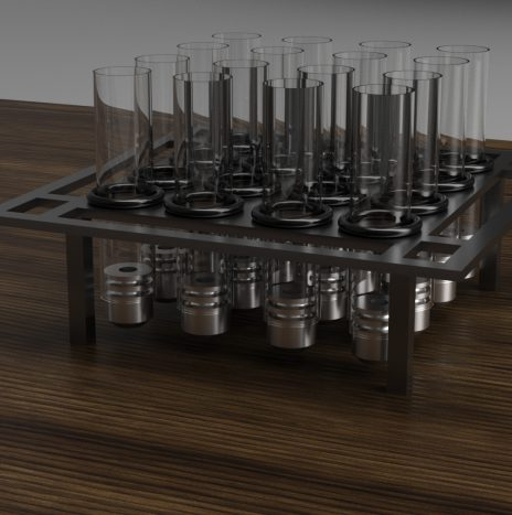 Proper Coffee 16 Tube Tray Stand with Glass Tubes